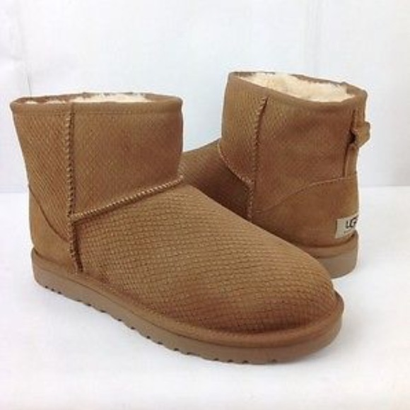 ugg shoes womens classic mini exotic scales booties poshmark rh poshmark com